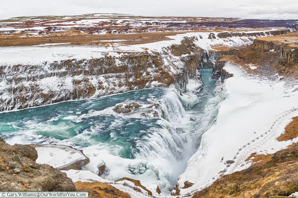 Gullfoss looking down the ravine, Iceland