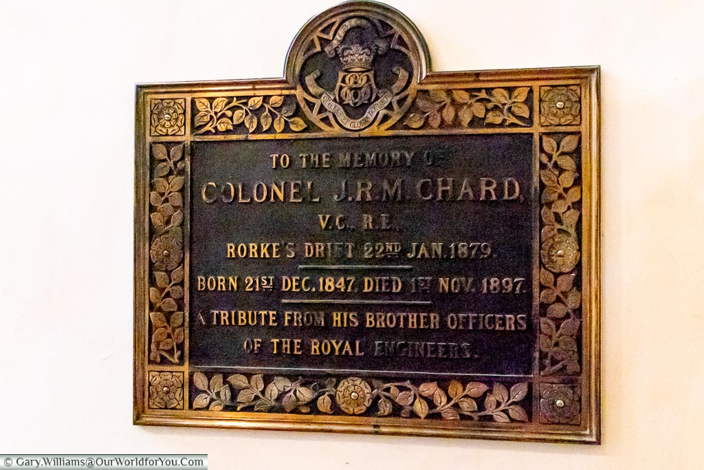 Plaque to Colonel J.R.M. Chard VC, Rochester Cathedral, Rochester, Kent, England, UK
