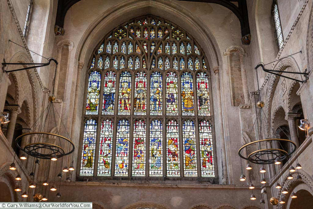 The main stained glass window, Rochester Cathedral, Rochester, Kent, England, UK