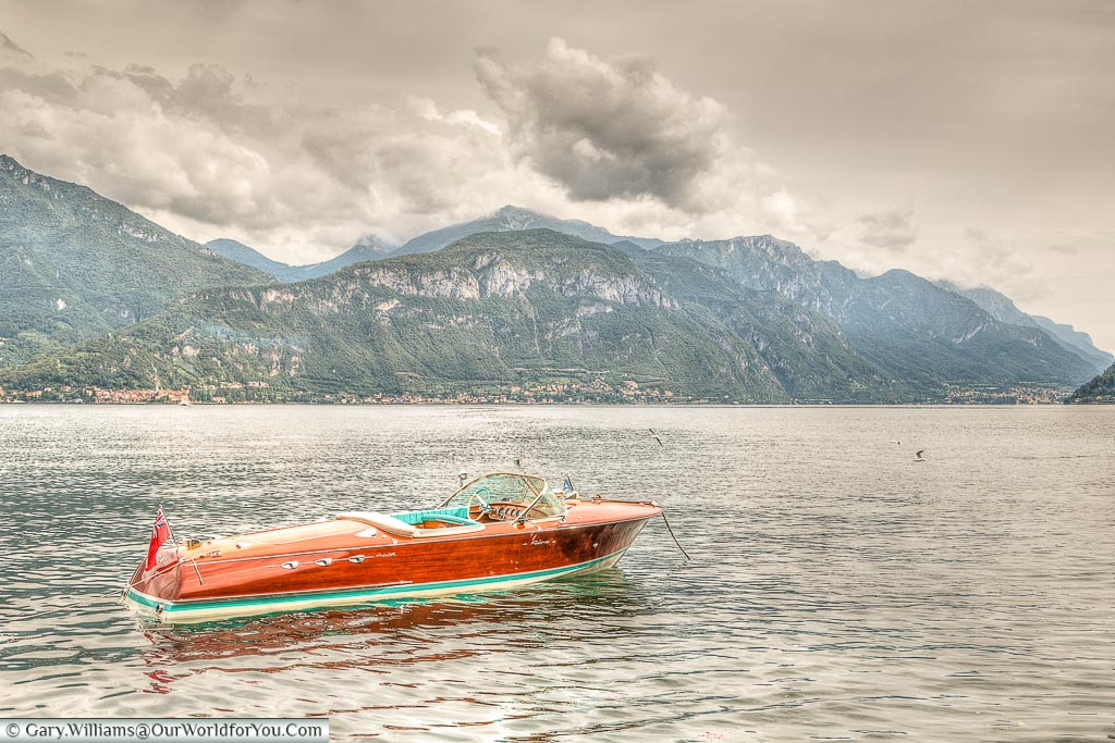 A beautiful wooden speedboat on Lake Como, Lombardy, Italy