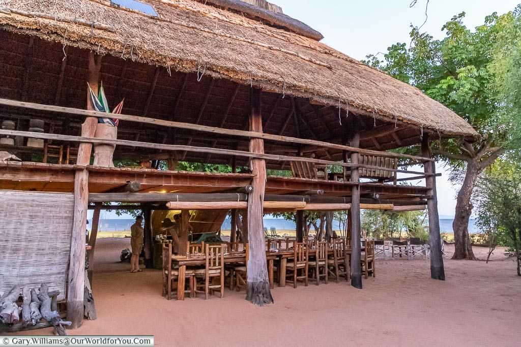 The view of the dining table on the lower level of the boma.