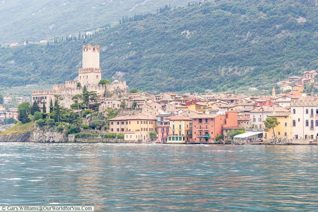 The view of the town of Malcesine from Lake Garda.  Taken on the ferry as we approached the town.