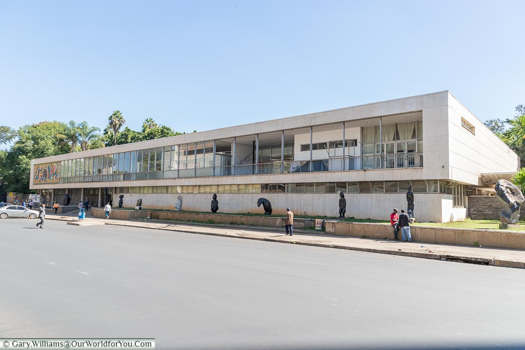 A 1950's low-level building that now houses the National Gallery of Harare.