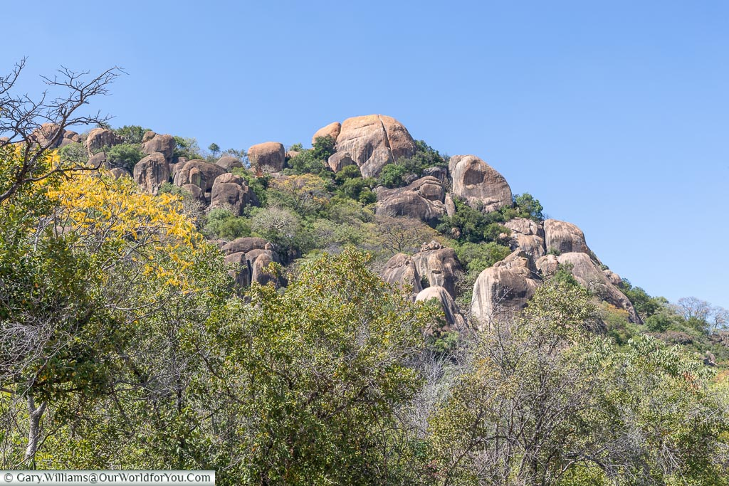 Looking up at a rock formation within Matobo National Park.