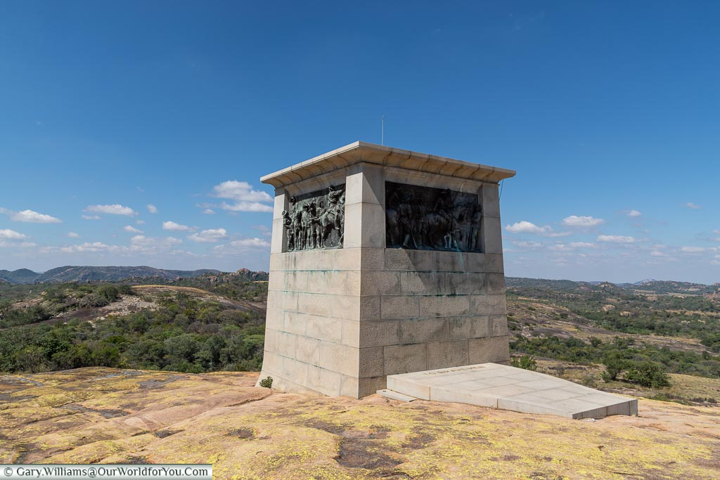 A large four-sided stone memorial to the Shangani massacre at World's View.