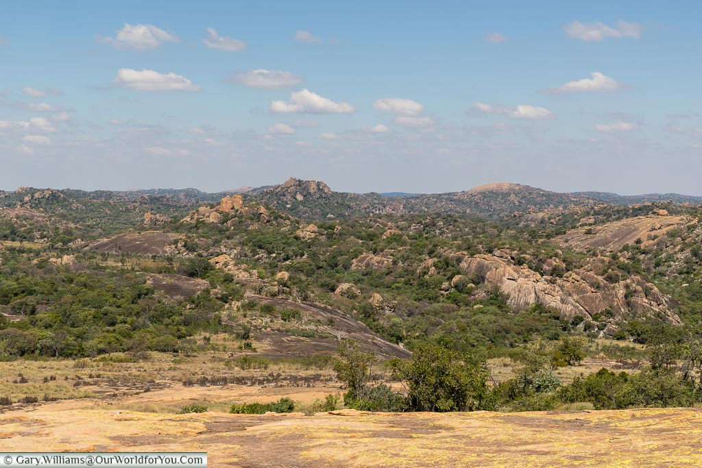 A complete, uninterrupted, scene from World's View across the African bush.