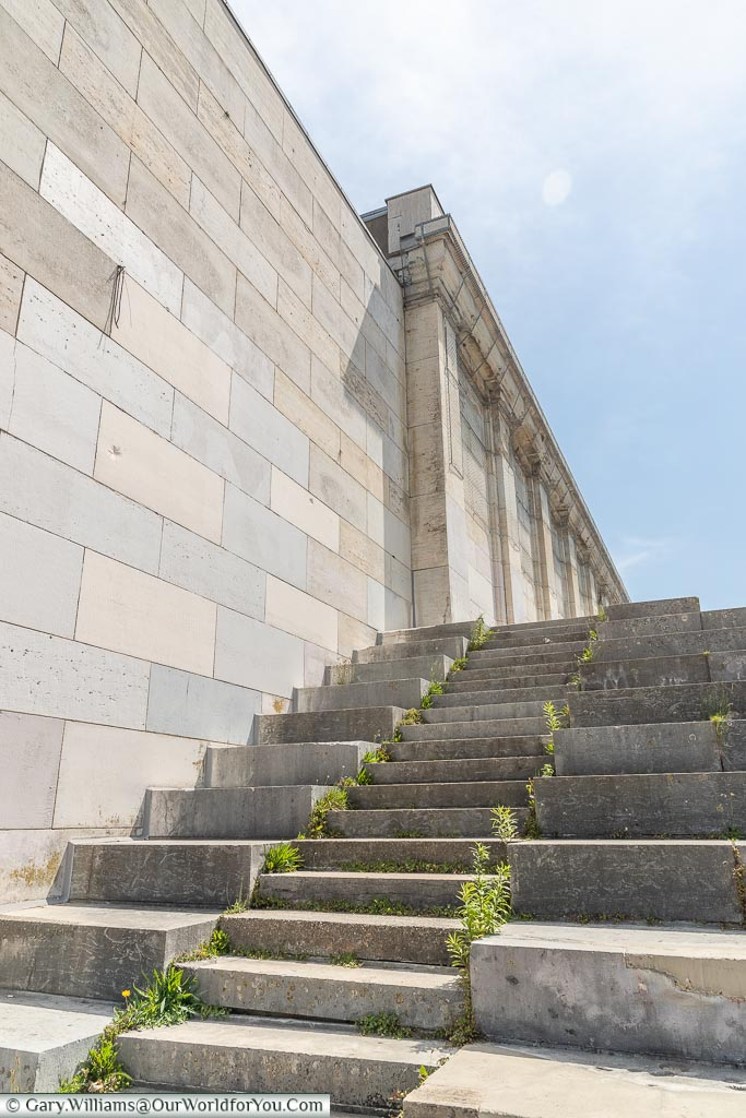 A flight of stone steps up to the Zeppelinfeld Grandstand centre section.