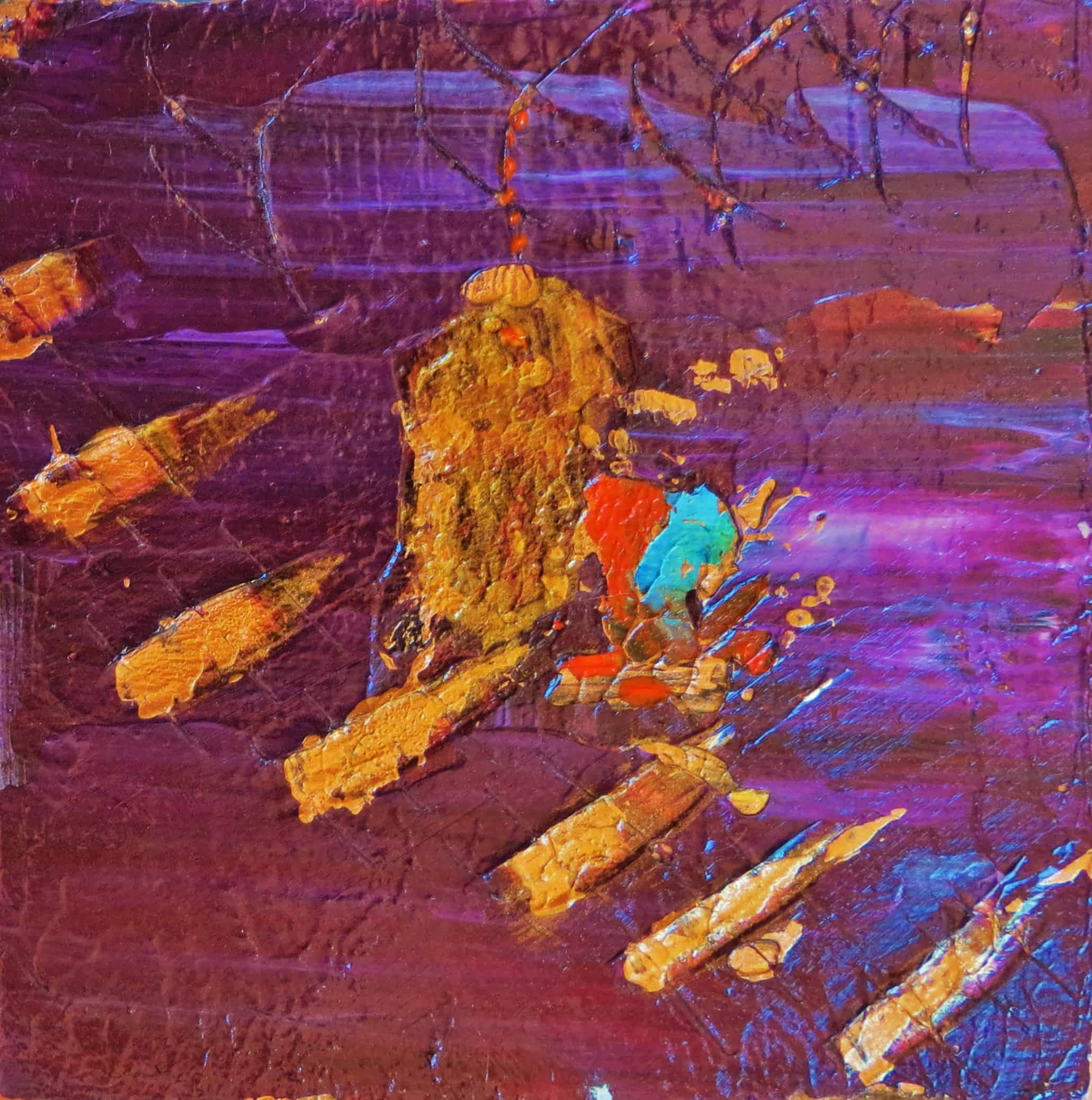 Purple and Gold (3 of 3) Acrylic on Pine Block