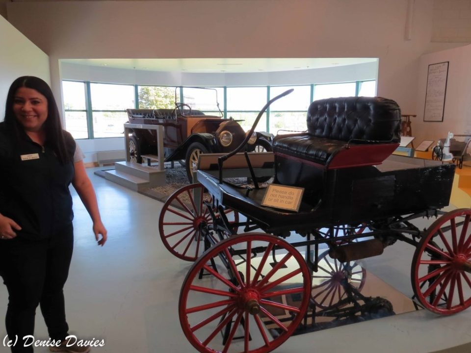 Horseless carriage. Note the mirror to see the underside.
