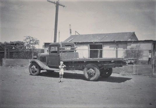 Uncle Ronnie Powell aged 5 in front of 42 Austral Rd Kalgoorlie 1948