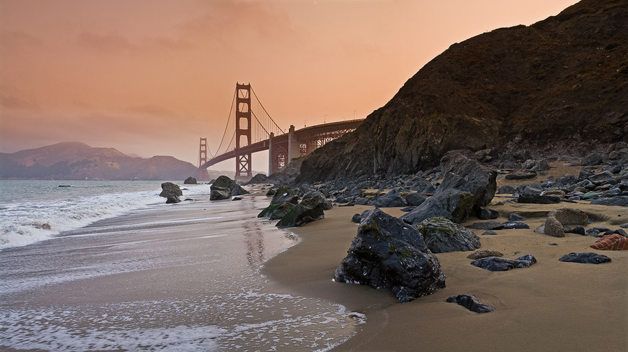 Golden San Frisco | rocks, sea, bridge, beach, surf