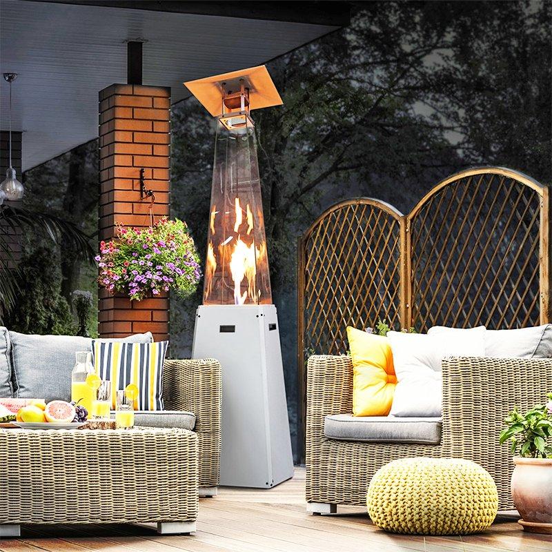kratki umbrella real flame pyramid patio heater white