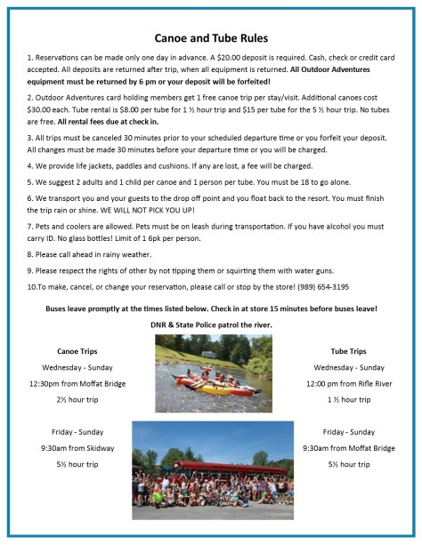 canoe and tube rules. 2017pub