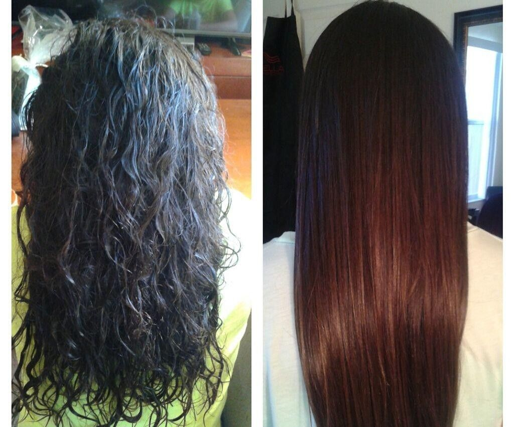 Before/after Brazilian keratin hair treatment.