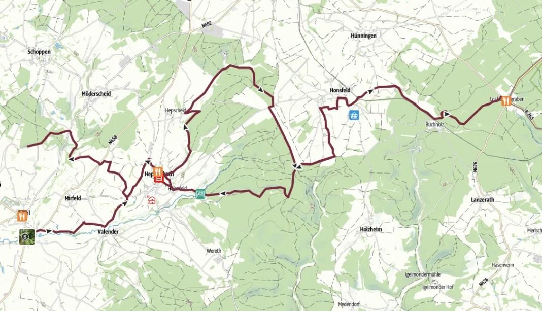 Routekaartje GR56 Amel – Losheimergraben