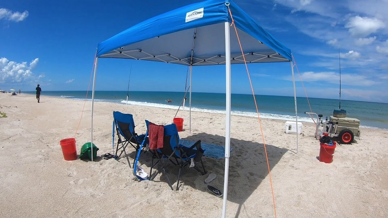 How To Keep The Canopy From Blowing Away At Beach?