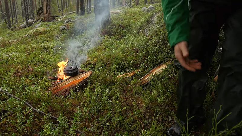 Setting A Tarp Over Campfire 2