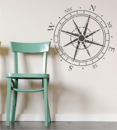 Kompass-Windrose Wandtattoo