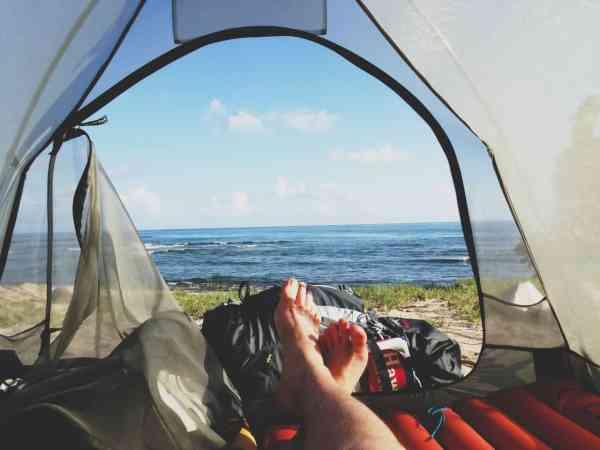Ego-Perspektive aus Zelt hinaus