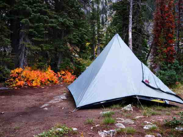 Tent camping in wilderness mountains overnight shelter in forrest with trees