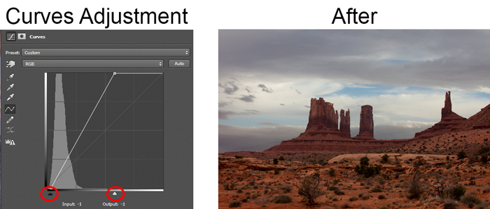 Shows Effect of Curves Adjustment Layer on Ground Portion of Picture