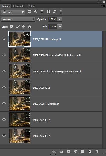 Different HDR versions as layers of one Photoshop file to create an uncompromising HDR photo