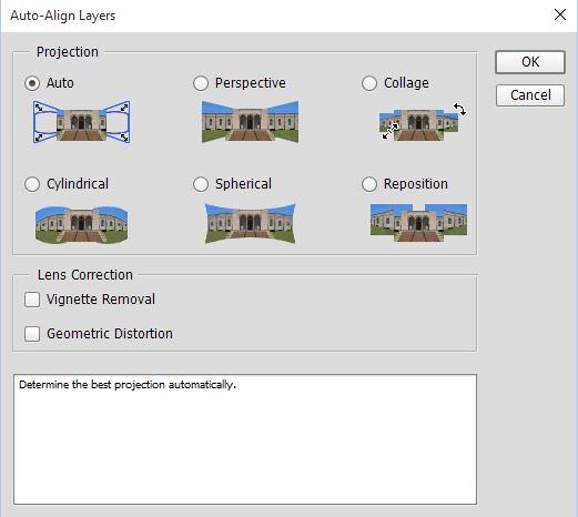 Auto Align layers dialog box