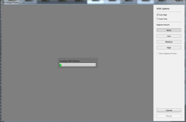 Lightroom HDR dialog box