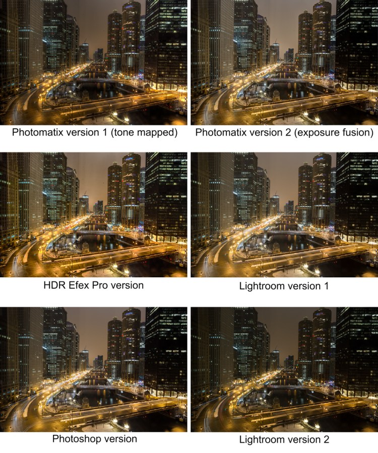 Different versions of a photo to use as starting points for an Uncompromising HDR photo
