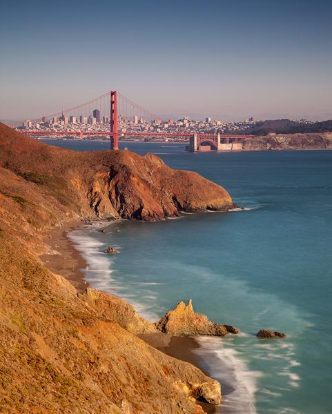 Shot of the Golden Gate Bridge from the Marin Headlands