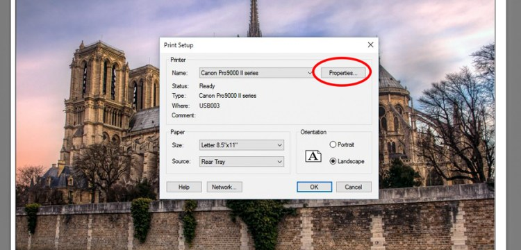 Page Setup Dialog Box in Lightroom Print Module