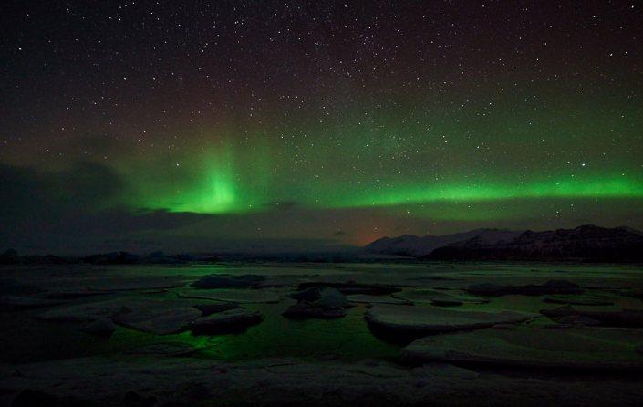 aurora borialis, northern lights, Jökulsárlón, Iceland