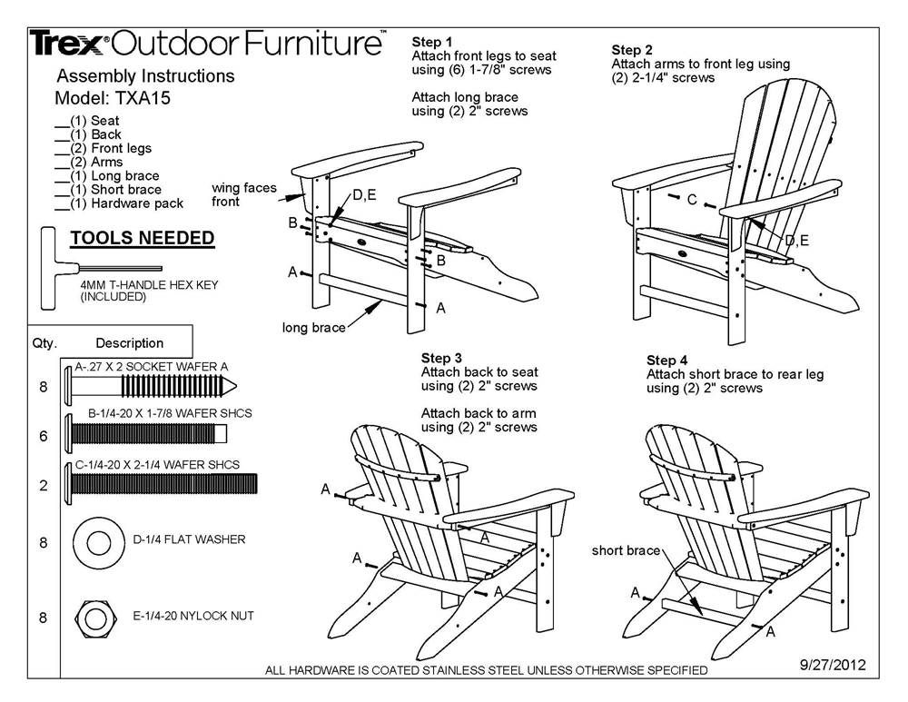 Trex TXA15 Cape Cod Adirondack Chair POLYWOOD Furniture