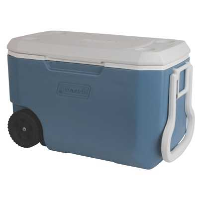 Coleman Cooler 62QT Wheeled Xtreme light blue white