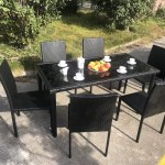 Stackable Chair Outdoor Rattan Dining Set Kd Tabke With