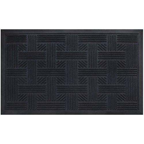 Alpine Neighbor Doormat   Low Profile Black Door Mat   Washable Cross Hatch  Outdoor/