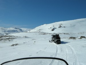 Snowmobiling in the Lewis Hills