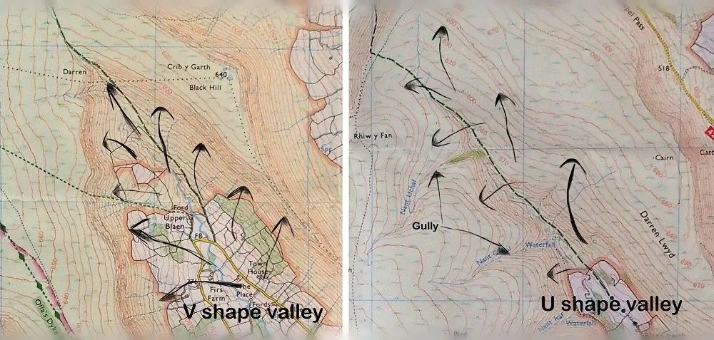 Valley featured on a map