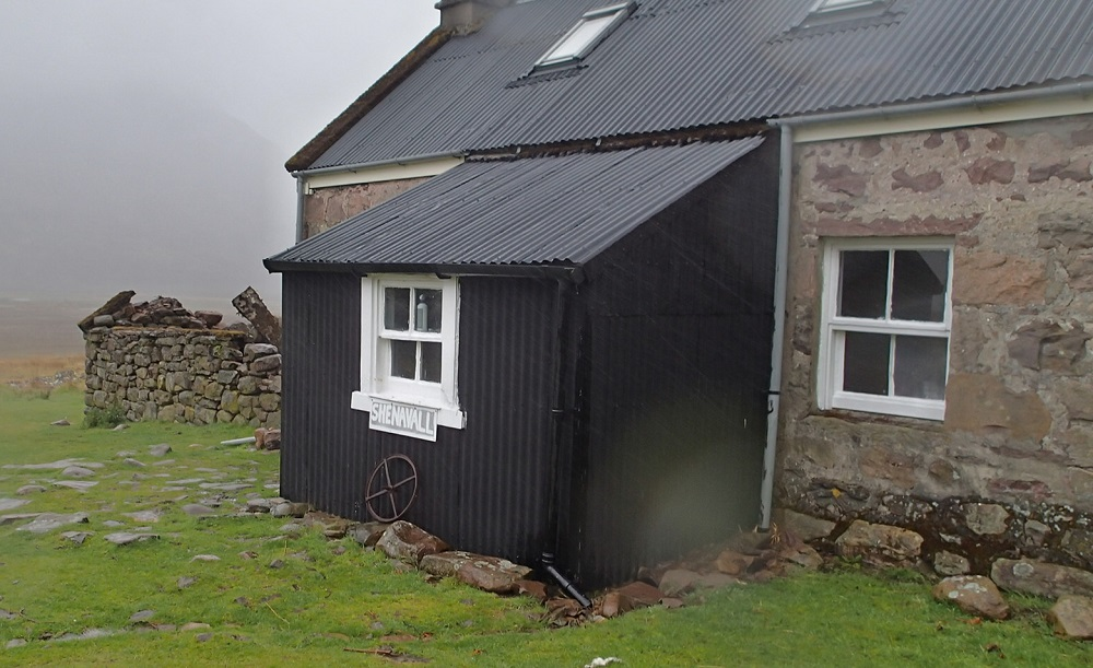 Shenavall bothy offering a much needed shelter from the constant rain and gales