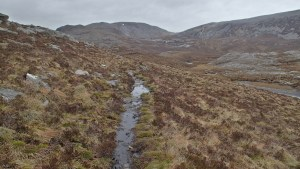 Rough mountain trail climbing from Inchnadamph to Bealach na h-Uidhe