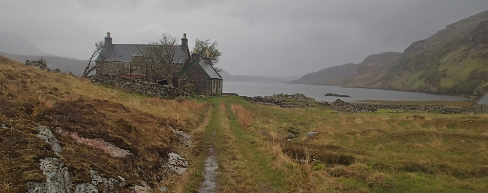 At last a refuge in Glencoul bothy in its dramatic location