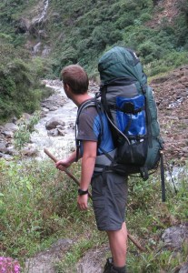 Carrying a heavy pack in the Camino Del Orro, Bolivia