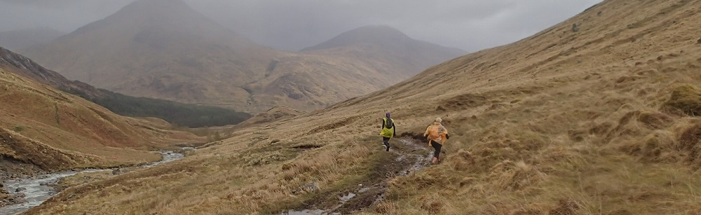 2 trail runners above Glen Dessary