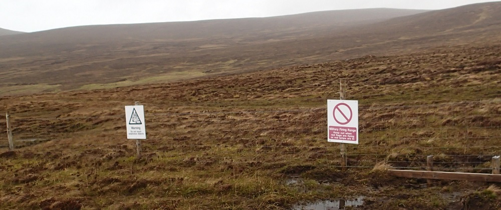 MOD signs around the Cape Wrath training zone