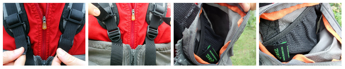 Front straps and pocket dividers