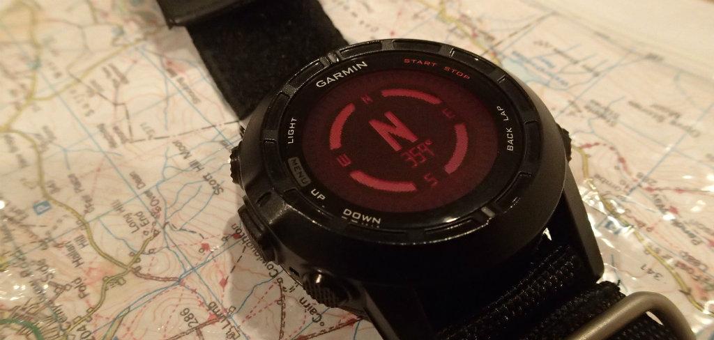 Garmin Fenix 2 displaying a digital compass
