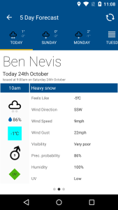 Screen shot from the Mountain Weather UK app