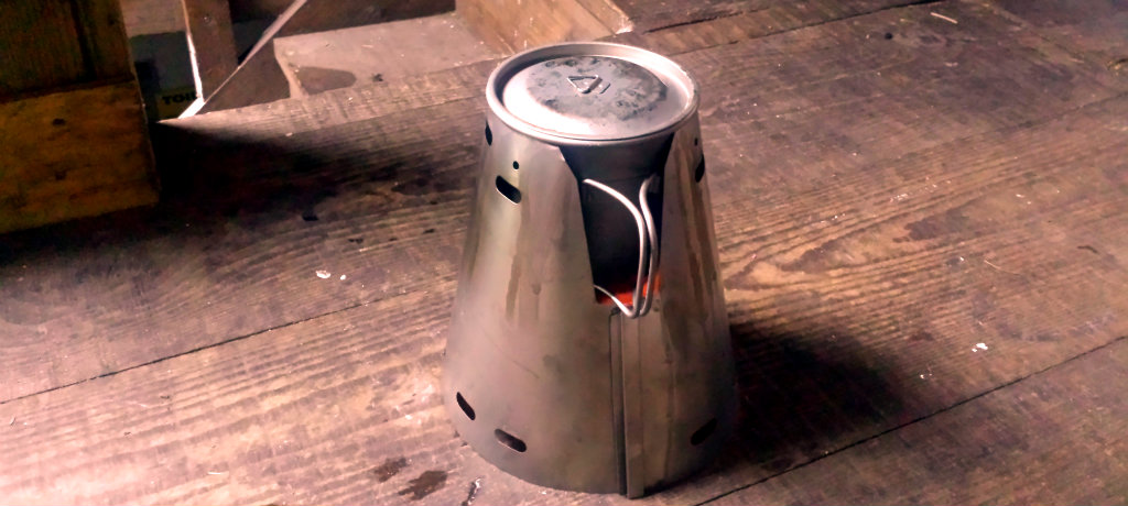 The Trail Designs Caldera Classic Ti-Tri Cone and MytiMug 650 titanium cooking mug