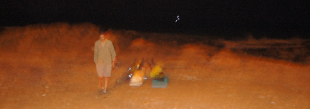A hazy night on Akhziv beach