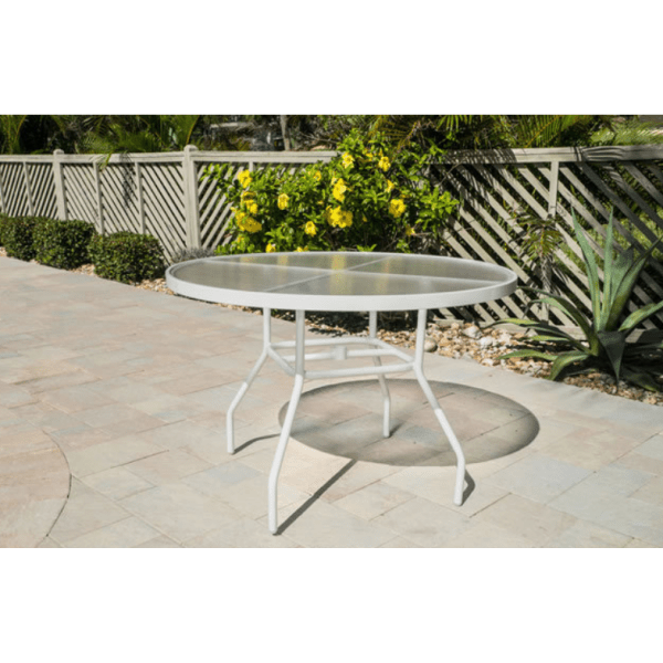 acrylic round 48 outdoor table round tubing patio dining tables